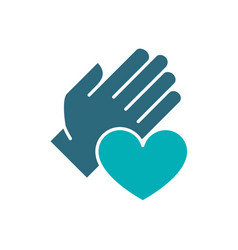 human hand with heart colored icon charity vector image
