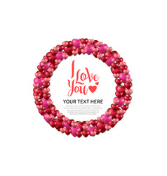 I love you with circle on white background vector