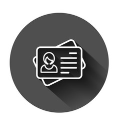 Id card icon in flat style identity tag on black vector