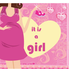 Its a girl - pregnant woman card vector