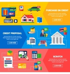 Loan Debt Horizontal Banners vector image