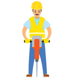 Male with drill worker wearing special uniform vector