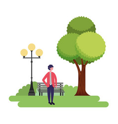 man standing in the park vector image