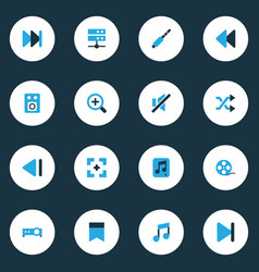 Multimedia colorful icons set collection of zoom vector