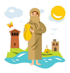 Muslim woman with jug of water flat style vector