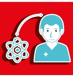 Nurse man and molecular isolated icon design vector