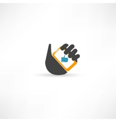 Phone in hand thumb up vector