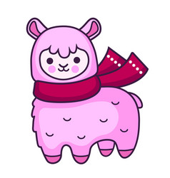 pink cartoon alpaca with scarf vector image