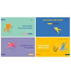 plastic pollution sea website landing page set vector image