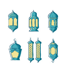ramadan kareem background with lights vector image