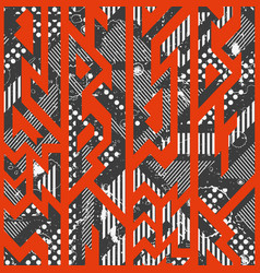 Red color tribal seamless pattern vector