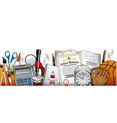 School stationery and education accessories vector