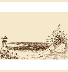 sea view from the beach lifeguard tower in the vector image