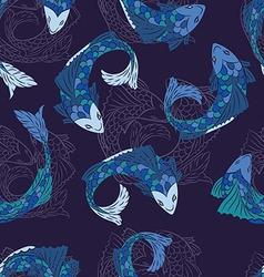 Seamless fish pattern in dark blue vector image