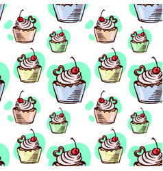 seamless pattern cupcake with cherry vector image