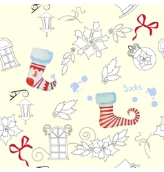 Seamless pattern with christmas things-03 vector