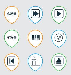 set of 9 audio icons includes piano song ui run vector image