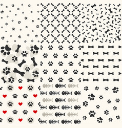 set of patterns with paw footprints and bones vector image