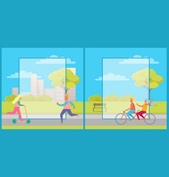 Set of posters with people having fun in city park vector
