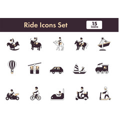 Set ride icon or symbol in flat style vector