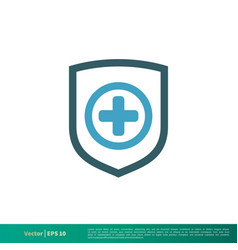shield and cross medical healthcare icon logo vector image