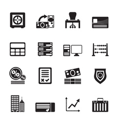 Silhouette business and office icon vector