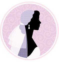 Silhouetted portrait of a woman in profile vector