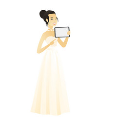 smiling fiancee holding tablet computer vector image