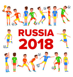 soccer player set 2018 fifa world cup vector image