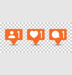 social media notification sign icon in vector image