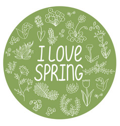 Spring round template with i love vector
