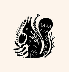 squirrel woodland animal drawing in ornate rural vector image
