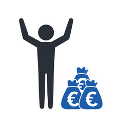stickman with a bag of money euro currency vector image