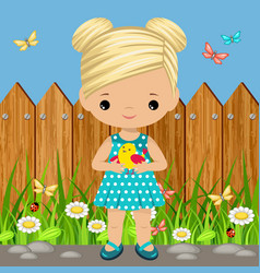 Sweet girl with a bird in his hands vector