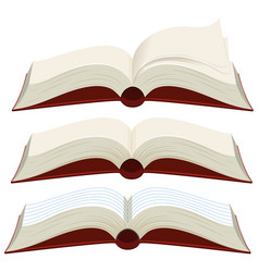 three blank books with red covers vector image