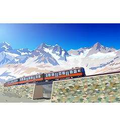 Train in Alps vector
