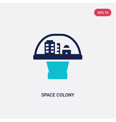 Two color space colony icon from astronomy vector
