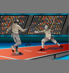 Two men fencing in the competition vector