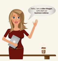video blogger girl business vebinar vector image