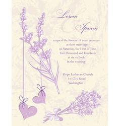 Wedding invitation card Lavender background vector