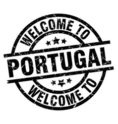 Welcome to portugal black stamp vector