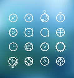 White circle icons clip-art on color background vector image