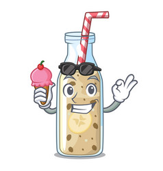 with ice cream homemade tasty banana smoothie on vector image