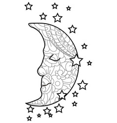 adult antistress coloring moon and stars pattern vector image
