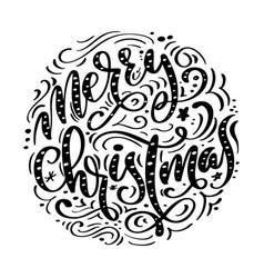 merry christmas black handwritten text hand drawn vector image vector image