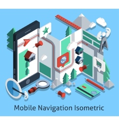 Mobile Navigation Isometric vector image vector image