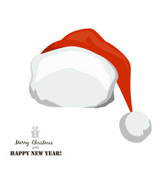 red santa claus hat on white background vector image vector image