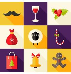 9 Christmas Flat Icons Set 2 vector image