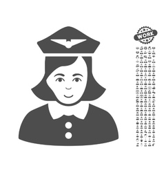 Airline stewardess icon with bonus vector