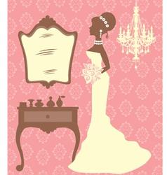 Beautiful bride in dressing room vector image